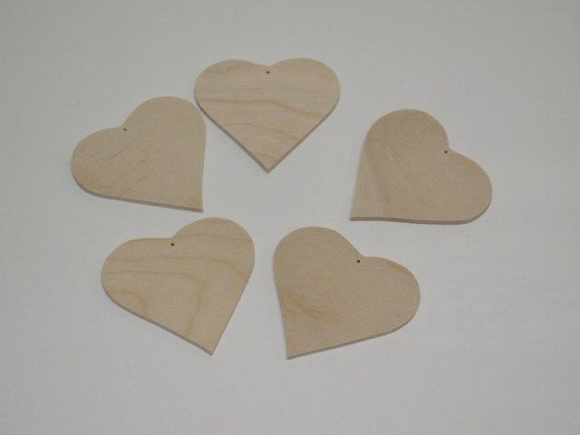 5 X Unpainted Wooden Embellishments Heart Tags Shapes