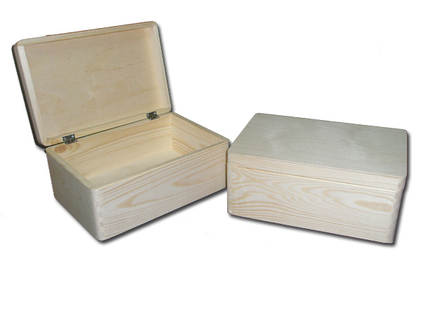 Unpainted wooden storage box large chest with lid toy for Craft storage boxes with lids