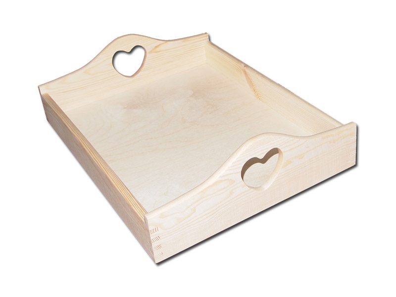 Wooden Kitchen Serving Tray Heart Shaped Handles Tray Breakfast Serving Tra